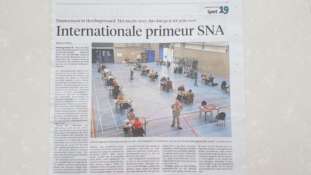 internationale primeur SNA krant artikel